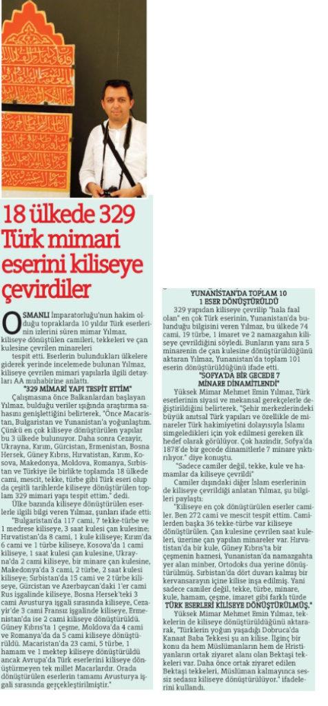 Kiliseye Çevrilen Türk Eserleri gazete haberleri (1)