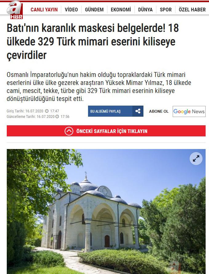 Kiliseye Çevrilen Türk Eserleri gazete haberleri (20)