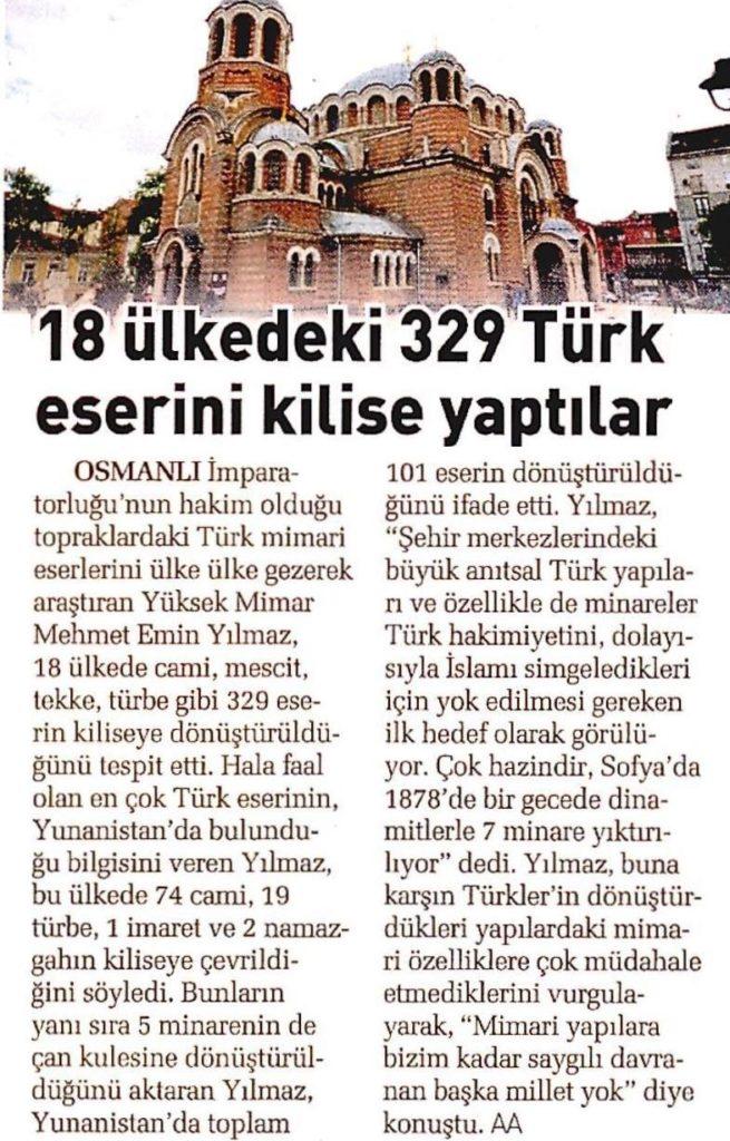 Kiliseye Çevrilen Türk Eserleri gazete haberleri (28)