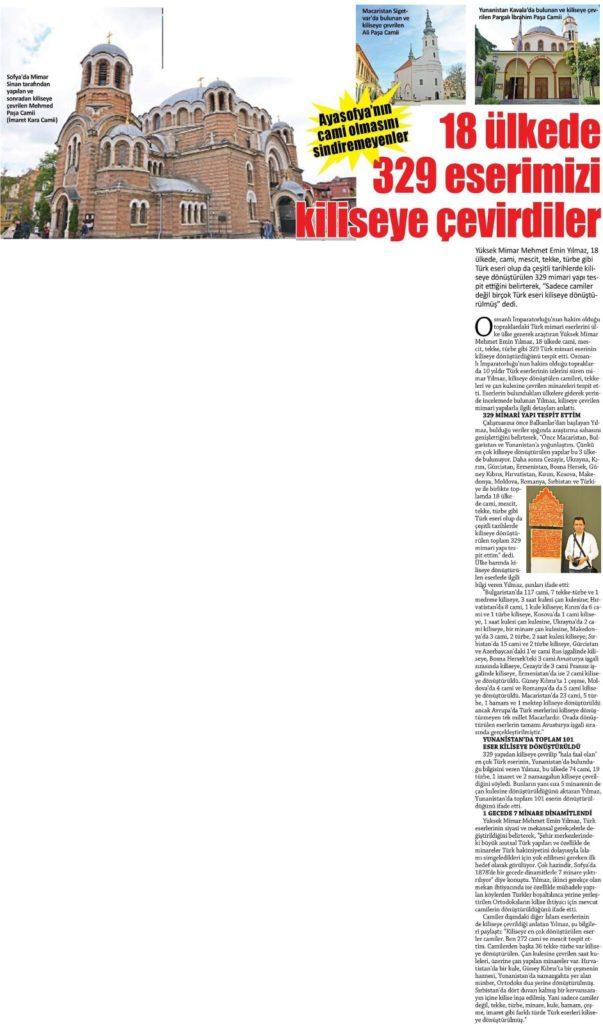 Kiliseye Çevrilen Türk Eserleri gazete haberleri (5)